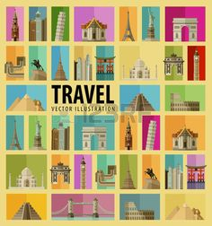 Illustration of set of colored icons on the theme of journey. flat illustration vector art, clipart and stock vectors. Travel Set, Flat Illustration, Royalty Free Images, Paris France, Egypt, Russia, Thailand, Mexico, Germany