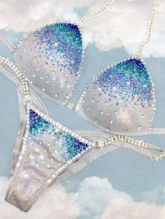 Sparkly Bikinis, Bikini Competition Suits, Cute Lingerie, Polka Dot Bikini, Bikini Workout, Bikini Fitness, Lucky Girl, Blue Zircon, Blue Crystals