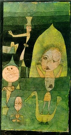 Paul Klee  'Kleine Komödie auf der Wiese' (Little Comedy on the Meadow)  1922  Pen and ink and watercolor   7 x 3.7""