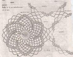 Photo from album Crochet Bedspread Pattern, Granny Pattern, Crochet Motif Patterns, Crochet Diagram, Crochet Squares, Crochet Tablecloth, Crochet Doilies, Crochet Flowers, Mandala Au Crochet
