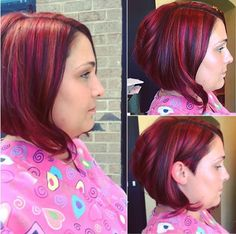 bob with crimson highlights ----- I love the color!!!