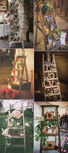 20 Rustic Vintage Ladder Wedding Decoration Ideas - Oh The Wedding Day Is Coming Vintage Wedding Theme, Wedding Themes, Elegant Wedding Invitations, Wedding Colors, Rustic Wedding, Wedding Decorations, Wedding Day, Wedding Ceremony, Reception