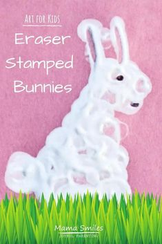 These eraser stamped bunnies make a quick and easy craft for kids. The post includes more fun spring activities for kids, as well! #edchat #kidsactivities #ece #spring #kidart #creativekids #rainydayfun