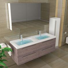 waschtisch unterschrank doppelwaschbecken eckig weiss badmöbel ... - Badtisch Doppelwaschbecken