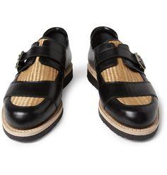 Balmain Raffia-Insert Leather Monk-Strap Shoes   MR PORTER