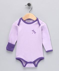Baby's favorite outfit? The birthday suit—and we don't blame 'em. It's comfy and all natural, just like this organic bodysuit that feels as great as wearing nothing at all. Scratch-preventing cuffed sleeves, a lap neck and snaps at the bottom make this darling dragonfly number an exceptional delight.100% organic cottonMachine wash; tumble dry