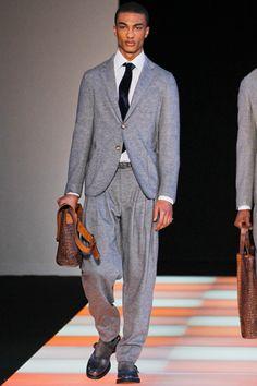 not feeling the tailoring on the pants. They look like pajamas :/ fall 2012 menswear: Giorgio Armani
