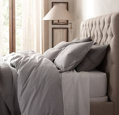 love this duvet in the silver mist color - italian 50 yr wash vintage bedding collection from restoration hardware