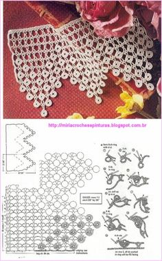 Who Want Free Crochet Tejer Patterns Cro - Diy Crafts - maallure Crochet Boarders, Crochet Lace Edging, Crochet Motifs, Crochet Diagram, Crochet Chart, Thread Crochet, Crochet Trim, Crochet Doilies, Crochet Stitches