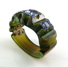Vintage 1930s Art Deco Carved Blue Green Prystal Bakelite Rhinestones Bracelet | eBay