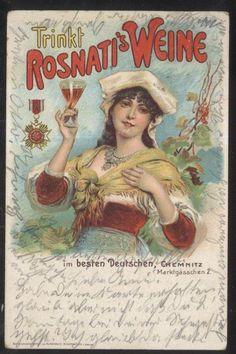 POSTCARD GERMANY Gaetano Rosnati Wine Colorful Graphic Promo Ad  1904