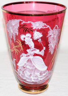 MARY GREGORY STYLE CRANBERRY GLASS VASE