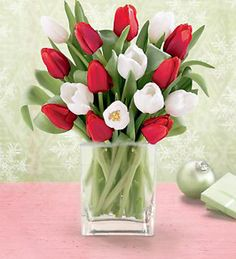 Red and white tulips in simple clear glass vase. Table Dressing, Clear Glass Vases, White Tulips, Seaside, Red And White, Bridal Shower, Entertaining, Table Decorations, Simple