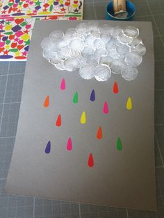 Joli nuage ! … Weather Art, Weather Crafts, Projects For Kids, Diy For Kids, Crafts For Kids, Fall Preschool, Preschool Crafts, Diy And Crafts, Arts And Crafts