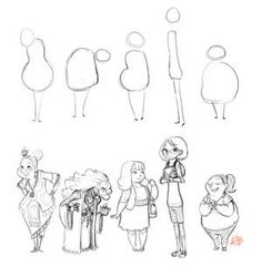 Character Shape Sketching 2 (with video link) by LuigiL on DeviantArt Kawaii Drawings, Cartoon Drawings, Cool Drawings, Simple Drawings, Pencil Drawings, Line Art Design, Stone Art Painting, Body Reference Drawing, Character Design Tutorial