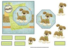 Bruno the dog card with topper on Craftsuprint designed by Angela Wake - Bruno the dog card with topper and decoupage, a choice of sentiment tags - Now available for download!