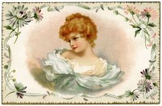 free printable digital image design resource ~ vintage pretty Victorian lady card