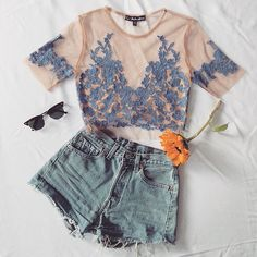 Wednesday vibes in the Luau Crop top #forloveandlemons #newarrivals #embroidery