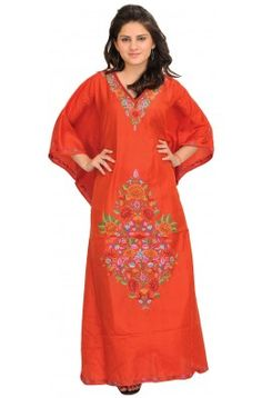Paprika-Red Kashmiri Kaftan with Ari Embroidered Flowers by Hand