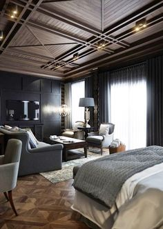 Grey walls & curtains work so beautifully with the wooden floor & ceiling - Breathtaking Bedroom...........