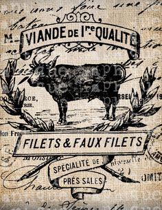 Antique Burlap Illustration French Cow Bovine Postmarks Digital Download for Papercrafts, Transfer, Pillows, etc No. 2419. $1.00, via Etsy.