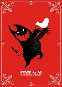 Strange and cute christmas card! A little monster is letting the peace dove go. All Poster, Poster Prints, Poppy Drawing, Red Like Roses, Sympathy For The Devil, Print Artist, Cat Art, Graphic Illustration, Folk Art