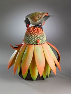 Truly fabulous: Yellow-bellied Waxbill porcelain teapot - Annette Corcoran click the image or link for more info.