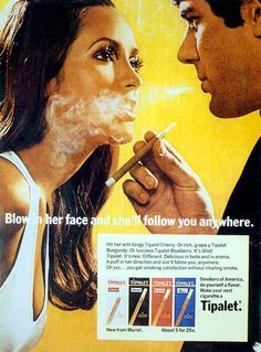 blowing in her face, vintage tobacco ads