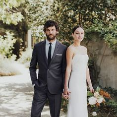 Find the right suit color for your look with our simple guide to men's wedding suits, complete with tips and inspiration for choosing wedding suits for men. Celebrity Wedding Photos, Celebrity Weddings, Wedding Tux, Wedding Dresses, Tux Dress, Black Tux, Groom Outfit, Wedding Styles, One Shoulder Wedding Dress