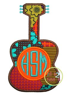 """Guitar Monogram Applique Design for INSTANT DOWNLOAD. Shown with our """"Natural Circle""""  font (not included)"""