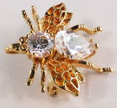 Vintage Gold tone crystal fly brooch pendant by DevineCollectible, $65.00