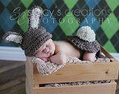 Crochet Hat Crochet Baby Hat Bum Cover Boy Hat Baby Bunny Hat Girl Bunny Hat Rabbit Animal Hat Newborn Bunny Hat Photo Prop Barley Brown