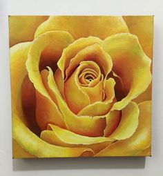 ARTFINDER: Yellow Rose by Karen Elaine  Evans - A magnified view of a yellow rose in acrylic on canvas.   I love yellow roses and had them in my wedding bouquet :-)   Built up in a number of layers to ...