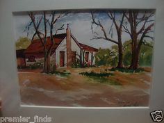 Watercolor Painting RAMONA California Country House Scene Artist Howard Layte                            $35