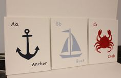 Anchor, boat, and crab nautical nursery decor, boy/girl nautical nursery decor, abc nautical paintings beach house wall decor beach theme