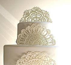 Sugar Doilies, Sugar Lace, Edible Cake Topper / Embellishments / Decorations -3 piece set on Etsy, $90.00