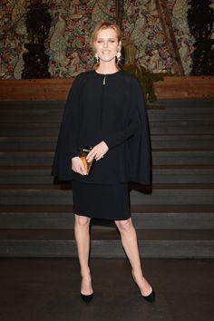 Eva Herzigova at the Dolce & Gabbana Fall 2014 runway show in Milan.