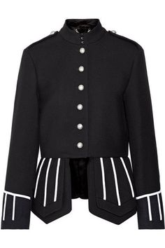Burberry - Felt-trimmed Wool-twill Jacket - Black