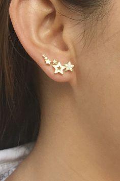 Star ear crawlers ear climber earrings ear climbers von ByKeira