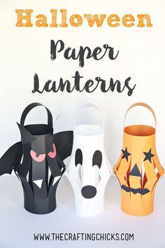 Halloween Paper Lantern Kid Craft on http://www.thecraftingchicks.com