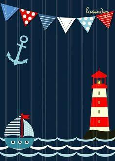 Tarjeta invitación náutica marinero