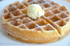 Super crispy Belgian waffle- my waffle maker isn't Belgian, just regular. But this recipe definitely delivered! Crispy and super flavorful. I didn't add the flavor, would've used vanilla i had some.
