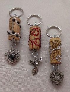 Hearts and Angels wine cork keychain