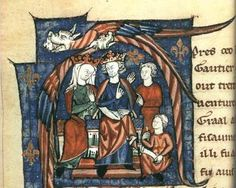 The Empress Matilda accompanied by her son, Henry, daughter-in-law, Eleanor of Aquitaine. Holding court.