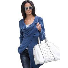 Women Loose Sweater Outwear Long Sleeve Knitted Cardigan Casual Sweater