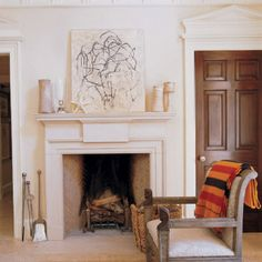 Limestone fireplace - living room x 2