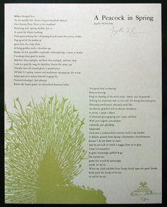 A Peacock in Spring  Broadside Artist: Katie Platte  Poet: Joyelle McSweeney