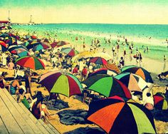 beach art | Beach decor umbrellas photograph COLOR BEACH16x20 beach art 1940s red ...