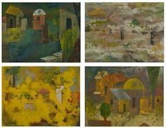 Chaturanga (Four seasons) by Saumen Khamuri Medium: Tempera on paper Size: 18 x 24 in  8 x 11 in (each) #ECA #ArtGallery