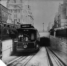 Tram emerging from the Kingsway Tunnel, c. 1920 London   Source:...